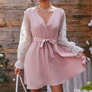 Boho Pink Floral Embroidered Sheer Sleeve Dress